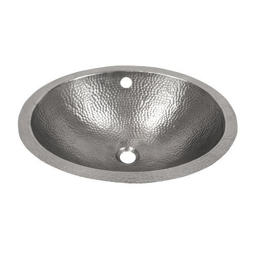 The Copper Factory CF170SN Solid Hand Hammered Copper 19-Inch by 16-Inch Oval Undermount Lavatory Sink, Satin Nickel by The Copper Factory