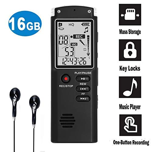 16GB Digital Voice Recorder-Mini HD Voice Activated Recorder 580 Hours Recordings Capacity-Sound Recorder MP3 Player for Lectures/Meetings/Interviews/Class …