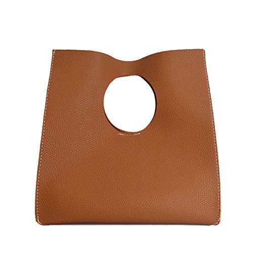 - Hoxis Vintage Minimalist Style Soft Pu Leather Handbag Clutch Small Tote (Brown)