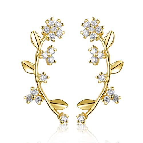 Gold 14k Helix Diamond Solid - Carleen 14k Solid Yellow Gold 0.08cttw Diamond Minimalist Flower Cuff Stud Earrings Ear Crawler For Women Girls