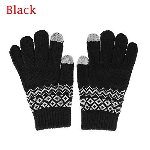 Winter Warm Men Knitted Gloves Flexible Full Finger Gloves Male Thicken Wool Cashmere Gloves,Black 3