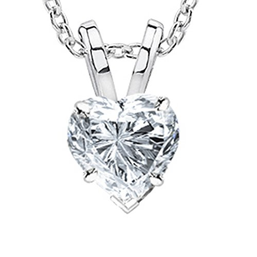1 Carat 14K White Gold Heart Diamond Solitaire Pendant Necklace 4 Prong H-I Color SI2-I1 Clarity by Chandni Jewelers