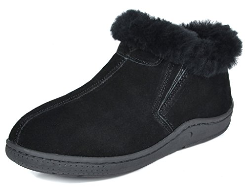 DREAM PAIRS Women's Huggie-01 Black Sheepskin Fur Winter House Slippers - 8.5-9 M US by DREAM PAIRS