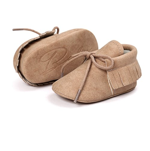 Zapatos de bebé Auxma Baby Soft Sole Anti-Slip Borlas Prewalker Toddler Zapatos Primeros zapatos para caminar Para 3-6 6-12 12-18 mes marrón
