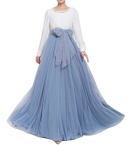 (Women Floor Length Long Maxi Puffy Tulle Skirt A Line with Bowknot Belt High Waisted for Wedding Party Evening (Dusty Blue, Plus)