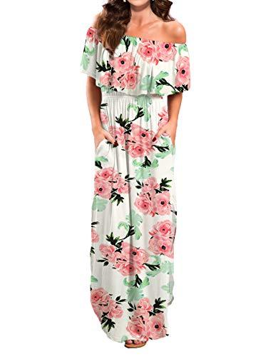 VERABENDI Women Maxi Summer Off Shoulder Beach Long Floral Dress Pink White S