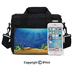 Marine Life Landscape Sunken Ship Silhouette Corals Fishes Tropics Decorative Print Lunch Bag Portable Insulated Lunch Boxes with Zipper and Pocket,Blue Light Coffee Green