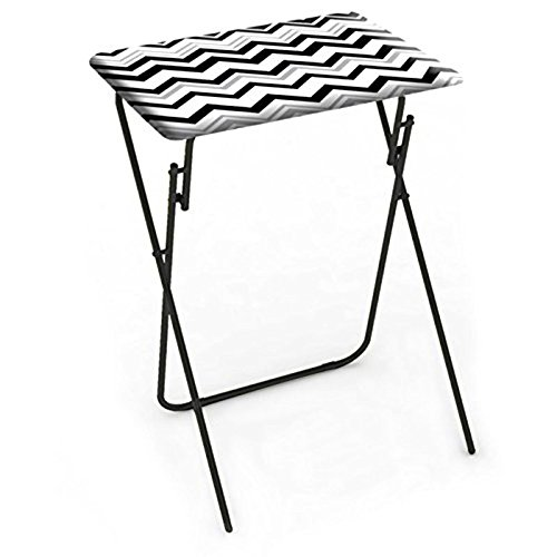 NEW expanding tray table Folding TV Tray in Chevron Black & White- (Black Flood Tray)