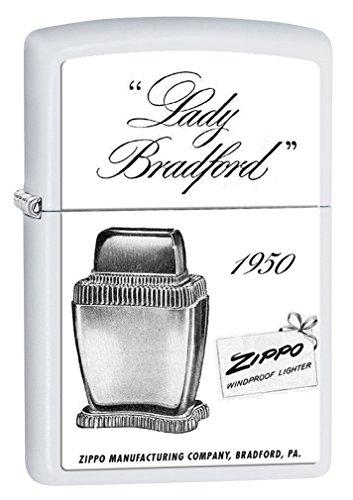 Metal Advertisement (Zippo Custom Lighter: Lady Bradford Advertisement - White Matte 78474)