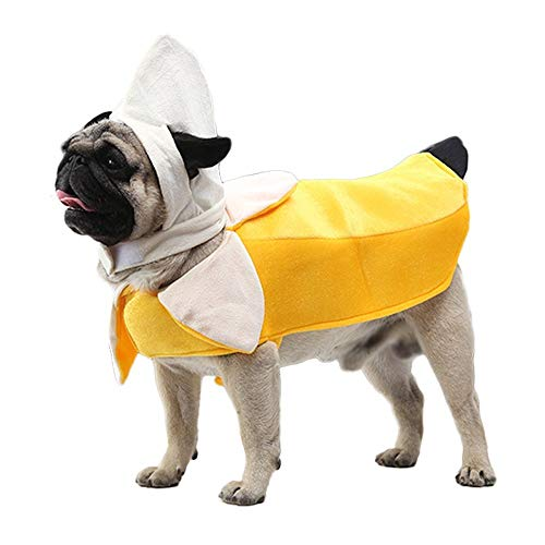 Youbedo Banana Dog Costume - Funny Pet Costume Apparel Banana Cosplay Suit Halloween Christmas Clothes for Cats Puppy Dogs]()