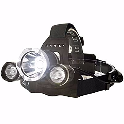 OUTERDO 5000Lumen Headlamp 4 Mode Head Lamp Headlight 3 Chips XML T6+2R5 Led Headlamp +2 Pack of 18650 Rechargeable Battery+AC Charger For Outdoor Camping Biking Hunting Fishing