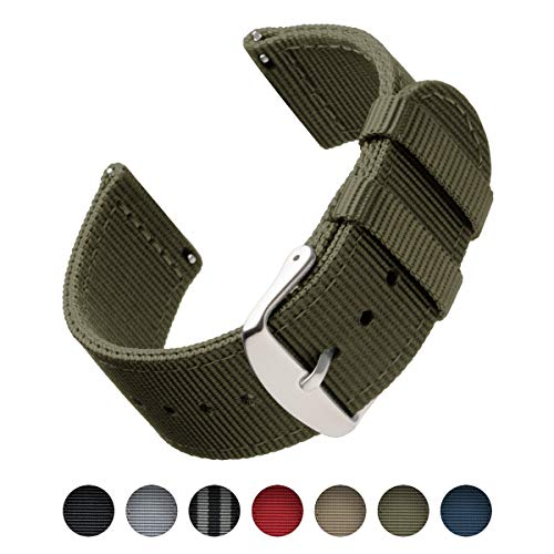 (Archer Watch Straps | Premium Nylon Quick Release Replacement Watch Bands for Men and Women, Watches and Smartwatches (Olive, 18mm) )