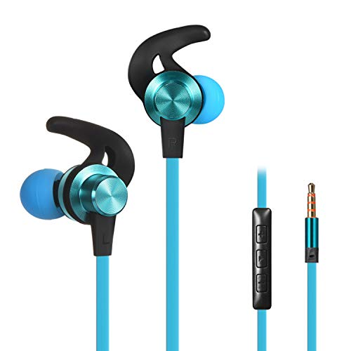 Wired Earbuds Earphones, Baymic in Ear Headphones Magnetic Ear Buds Built-in Mic/Volume Control, Metal Bass Stereo Noise Cancelling Headsets Sweatproof Ear Phones for Running & Sports (Blue)