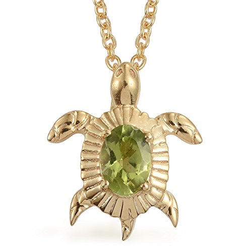 Peridot 14K YG Plated Silver Turtle Pendant With ION Plated Yellow Gold Steel Chain 20in (Peridot Turtle)