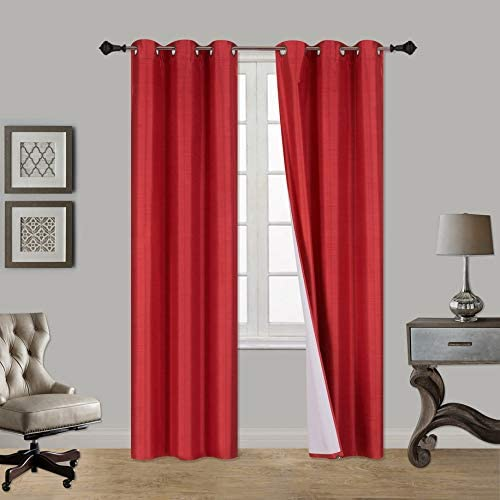 Sapphire Home 2 Panels Grommet Faux Silk Satin Window Curtain Panels 63 Long, Insulated Thermal Foam-Backed Lined, Room Darkening, Solid Color, for Bedroom Living Room, K60 63 Red
