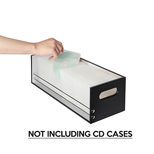 JackCubeDesign Leather Stacking CD Tray Case Storage Box Shelf DVD Organizer Holder(Black, 17.3 x 6.5 x 5.7 inches)-MK215A