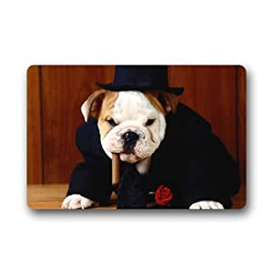 """Bulldog Boss Dog Customized Outdoor and Indoor Art Printing Door Mat 25.6""""x 15.7"""""""