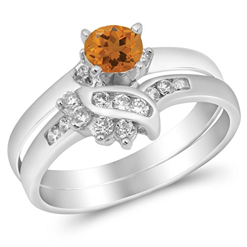 925 Sterling Silver Faceted Natural Genuine Yellow Citrine Round Wedding Set Ring Size 7