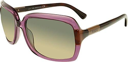Tod's TO29-81B-58 Women's Rectangle Translucent Purple Dark Havana Arms Sunglasses