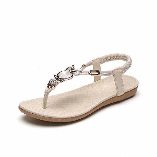 TYERY Las Sandalias de Cabeza de Gato Femeninas Todo Coinciden con Los Zapatos de Moda Zapatos de Punta con Cuentas de Mujer, Rosado, 37