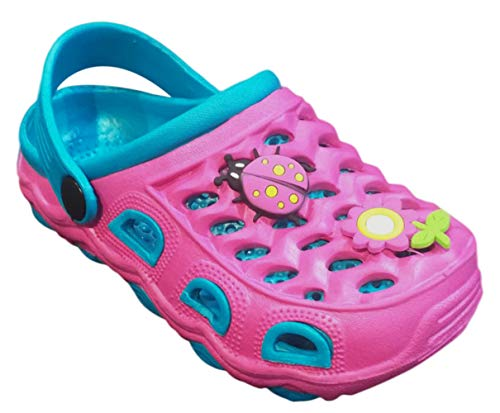 Price comparison product image Top Hot Pink Ladybug Anti Skid Garden Clog Sandals for Toddler Girls Slip On Multicolored Comfortable Classic Christmas 2018 Slippers with Drainage Holes Silly Light Weight Kids Shoes (Size 6,  HPink)
