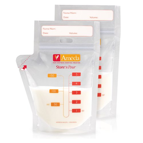 Ameda Store N Pour Breast Milk Storage Bags with Adapter, 20-Count
