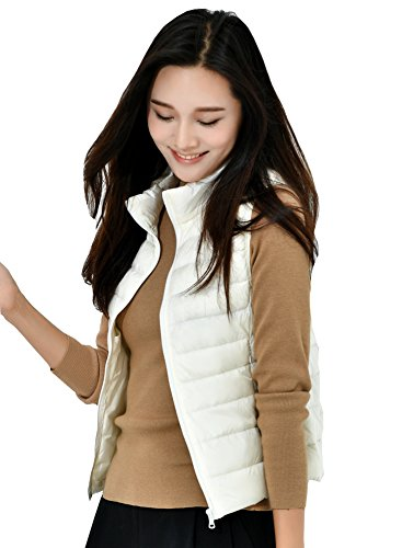 Climbing Fouriding Girls Women Hiking Off Coat Ultralight Duck for Travel Winter for Vests Quilted Stand Vest Sleeveless Women's Collar Ladies Gilets Skiing Packable Puffer White Down Jacket Gilet qwnSqCRrfA