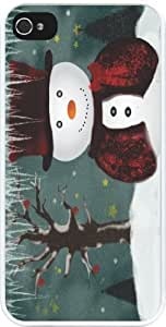 Rikki KnightTM Holidays Snowman Design Design iPhone 4 & 4s Case Cover (White Rubber with bumper protection) for Apple iPhone 4 & 4s