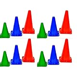 "Set of 12 ""CW Sports Tall Long Training Marker Cones ""15 Inches Traffic ,Boundary Sports ,Playground Bright Multicolor ,Football ,Rugby,High Durable Material Quality Made Indoor&outdoor"