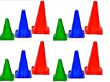 Pack of 12 ''CW Sports Tall Long Training Marker Cones ''9 Inches Traffic ,Boundary Sports ,Playground Bright Multicolor ,Football ,Rugby,High Durable Material Quality Made Indoor&outdoor