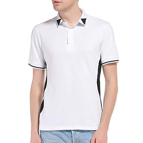 Sunmoot 2019 Newest Button Polo Shirt for Mens Summer Euro-American Patchwork Lapel Short Sleeve Casual T-Shirt Tops White]()
