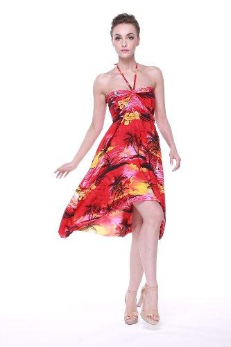 Vestido de mariposa hawaiana para mujer Puesta de sol Rojo Rojo