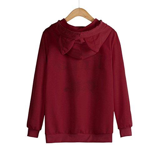 Lunghe Camicette Tops Camicie Elegante Autunno Casual Pullover Shirt ABCone con Felpa T Rosso Maniche Felpa Cappuccio Donna Rz7wqw4Cx