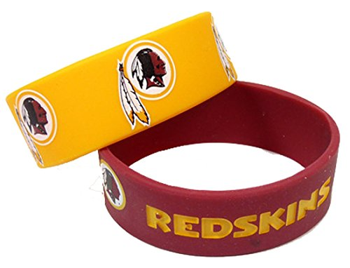 Rubber Washington Redskins Bracelets (NFL Silicone Rubber Bulky Bandz Bracelet Set, 2-Pack-Old Logo (WASHINGTON)