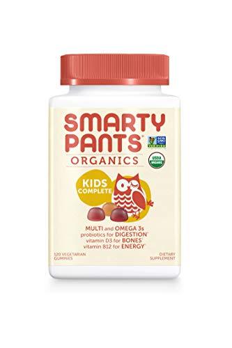 SmartyPants Vegetarian Organic Kids Daily Gummy Vitamins: Multivitamin, Gluten Free, Non-GMO, Omega-3, Probiotic, Vitamin D3, Methylcobalamin B12, Zinc; 120 Count (30 Day Supply) by SmartyPants Vitamins (Image #1)