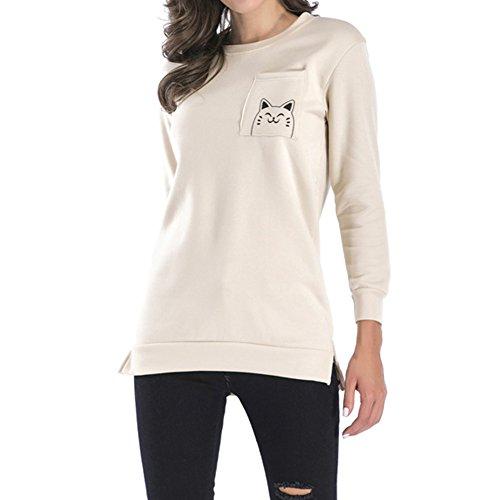 2XL Cachi con Collo Lunghe Tasca Donna Autunno Stampato Mini Abito M Casuale Maniche Pullover Felpe Moda Loose Jumper Maglione Gatto Inverno Rotondo Rqv10vx