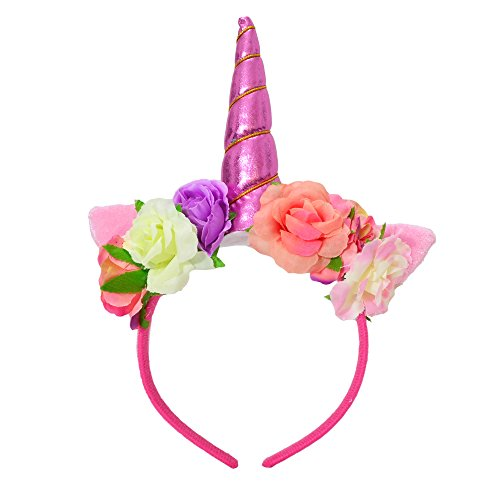 Decorations Adult Party (Unicorn Headband - Floral Metallic Unicorn Horn Headband with Ears for Adults and Children, Unicorn Party Decorations, Unicorn Party Supplies, Unicorn Gift, Cosplay, Party, Bachelorette Party, Rave)