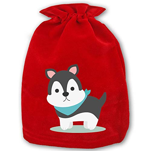 Huge Sale Santa Present Sack Bags Christmas Cute Puppy Red Drawstring Bag, Standard Reusable Shopping-Special Edition ()