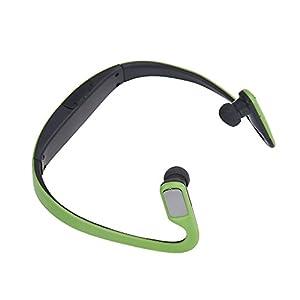 Aobiny Earphone Wireless Card FM Stereo Radio Function MP3 Sports Headset Earphone (Green)
