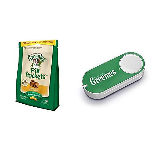 GREENIES PILL POCKETS Capsule Size Dog Treats Chicken Flavor, 15.8 oz. Value Pack (60 Treats) + Greenies Dash Button