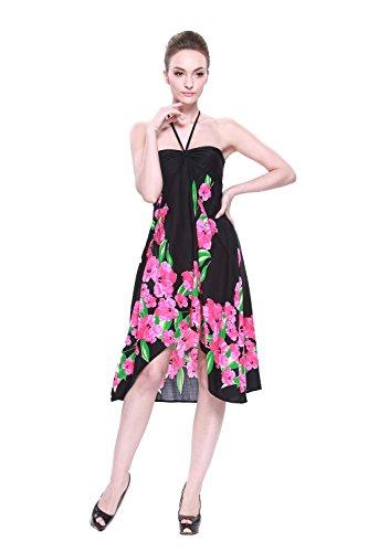 (LLJ Hawaii Women's Hawaiian Butterfly Dress in Black With Pink Hibiscus Print L )