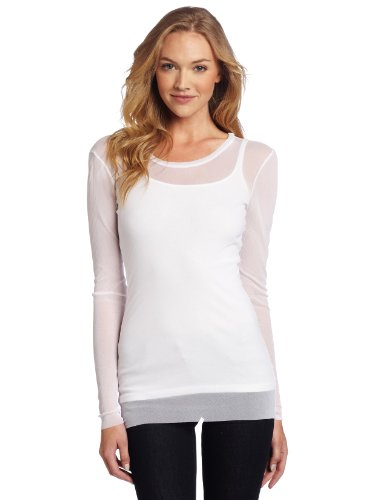 Only Hearts Women's Tulle One Ply Long Sleeve Crew Neck Top, White, Petite/Small