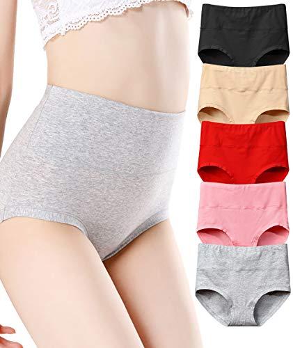 - NINGMI 5-Pack Women's High Waist Cotton Underwear Soft Comfortable Sexy Hipsters Panties Tummy Control Briefs