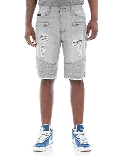 Fly Society Men's Ripped & Zipper Details Raw Hem Denim Biker Shorts-Onyx-36