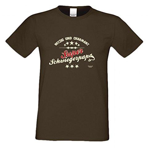 T-Shirt als Geschenk für den Vater - Witzig und Charmant - Ein Danke für den Super Schwiegerpapa mit Humor zum Vatertag, Größe 3XL Farbe 09-Braun