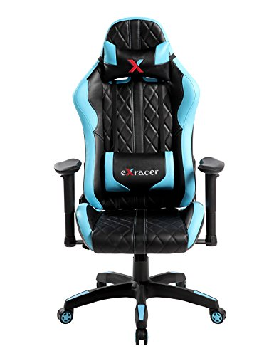 Swivel PU Leather Gaming Chair, Large Size Racing Chair, Racing Style High-back Office Chair, Ergonomic Computer Chair Cushion Headrest Lumbar Support