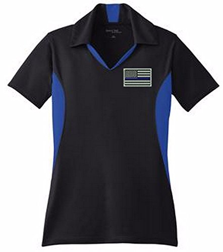Ladies Thin Blue Line Flag Embroidered Moisture Wicking Block Polo Shirt SM - Womens Tournament Polo Golf Shirt