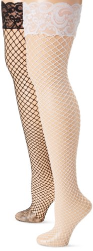MUSIC LEGS Women's Plus-Size 2 Pack Diamond Net Thigh Hi with Silicone Lace Top, Black/White, One Size