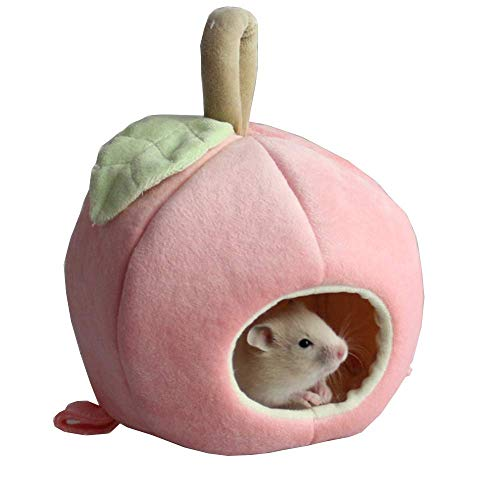 - ANIAC Pet Winter Hanging Fruit House Hammock Warm Bed Nest Accessories for Hamster Guinea Pig Hedgehog Chinchilla Hamster and Small Animals (Pink)