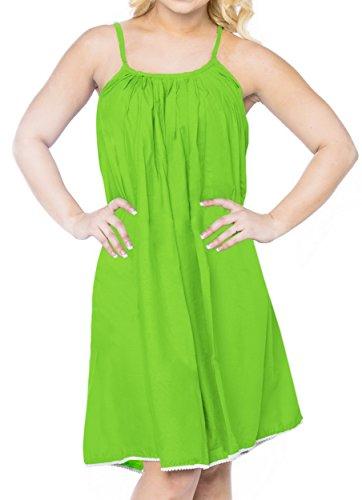 (LA LEELA Rayon Solid Hawaii Casual Smocked Tube Dress Parrot Green 1192 One Size)
